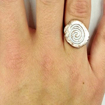Simple Copper White Ring Spiral Rustic Jewelry Organic Earthy Metalsmith Magic Alchemy Artisan OOAK