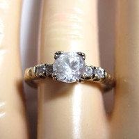 Antique White Topaz Engagement Ring 10K Size 8 Yellow Gold