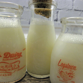 Vintage Milk small half bottles Bottles Set of Three Two printed one Embossed