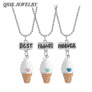 QIHE JEWELRY 3pc/set  Best Friends Forever 3 Color Ice-cream Pendant Beads Chain Necklace Mini kawaii Girls Jewelry
