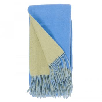 Carolina Blue and Peridot Wool / Cashmere Double-Faced Throw
