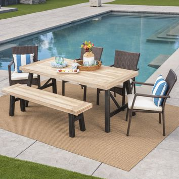 Hollister Outdoor 6 Piece Acacia Wood Dining Set with Wicker Dining Chairs