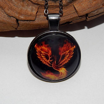 Best firebird bird products on wanelo phoenix pendant phoenix necklace phoenix jewelry fire bird elemental phoenix keychain aloadofball Images