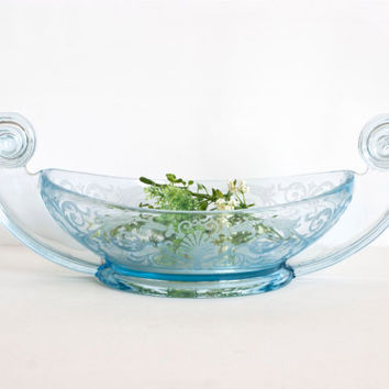 Large Art Deco Depression Glass Fostoria Versailles Ice Blue Scroll Handled Centerpiece Bowl, 1920's Etched Console Fruit Bowl