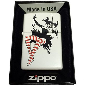 Zippo Custom Lighter - Swinging Masked Woman LADY With Striped Stockings - Regular White Matte