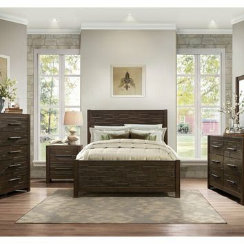 5 pc Bowers collection rustic java brown finish wood paneled headboard bedroom set