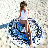 150x150cm Round Tassel Beach Yoga Towel Beautiful Printed Bed Sheet