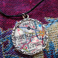 Firenze necklace, Florence necklace, map necklace, map pendant necklace, travel necklace, Italy necklace, Italy jewelry