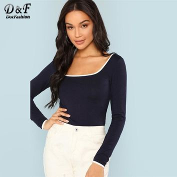 Dotfashion Navy Scoop Neck Ringer Womens Casual Tee Autumn Long Sleeve Slim Fit Tops Clothing Female Spring Pullovers T-Shirt