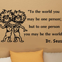 Dr Seuss Thing 1 Thing 2 inspirational wall quote vinyl art decal sticker 26in
