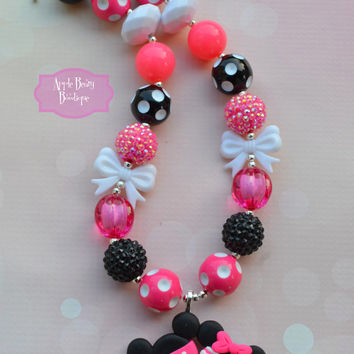 Minnie Mouse and Mickey Mouse pink heart Bow-tique Bowtique Disney Chunky Bubblegum Necklace