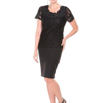 Round Neck Lace Top With Short Sleeves And Beading On Neck Black Small