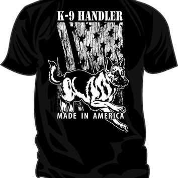K-9 Handler Made in America German Shepherd Dog T-Shirts