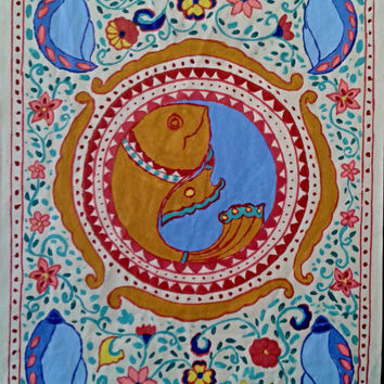 Madhubani painting-Matsya-avatar (The avatar of Hindu god Vishnu in the form of a fish and his Conch shell)