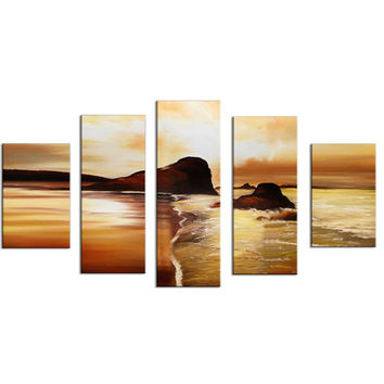 Orange Coast Sunset Landscape Canvas Wall Art Oil Painting