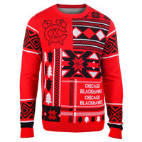 "Chicago Blackhawks Official Men's NHL ""Ugly Sweater"" by Klew"
