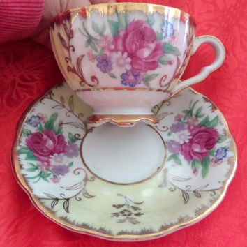 Antique Japan Tea Cup and Saucer - Soft Yellow With Mauve Rose - Beautiful - Heavy Gold - Elegant - Victorian - Chic - Excellent Condition