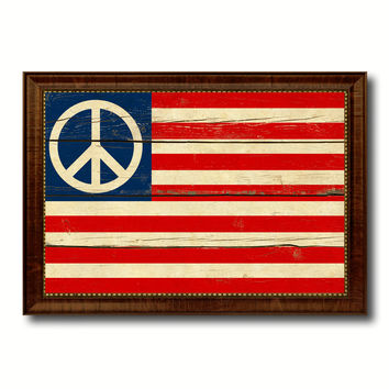 Peace Sign American Military Flag Vintage Canvas Print with Brown Picture Frame Gifts Ideas Home Decor Wall Art Decoration