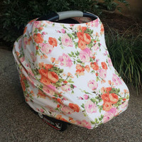 Floral Car Seat Cover, Nursing Cover - Stretch Car Seat Cover, Stretchy Baby Car Seat Cover, Multifunctional Nursing Cover
