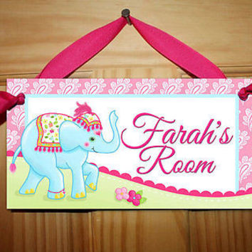 Kids Door Sign Batik Carnival Elephant Girls Room Personalized Name Sign DS0180