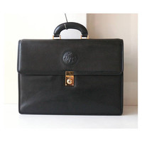 Gianni Versace Black Leather Briefcase vintage authentic Handbag Medusa