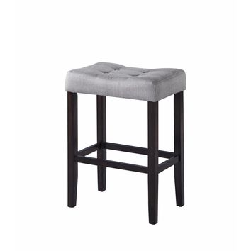 Backless Modern Bar Stool, Gray & Brown ,Set of 2