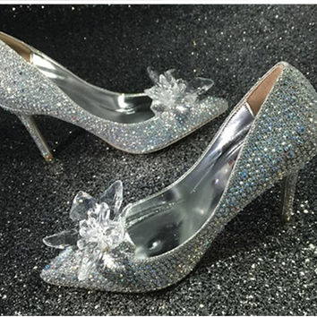 Milanblocks Shinny Crystal Sparkle Wedding Heels Silver
