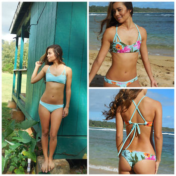 Reversible Brazilian Bottoms- mint and floral