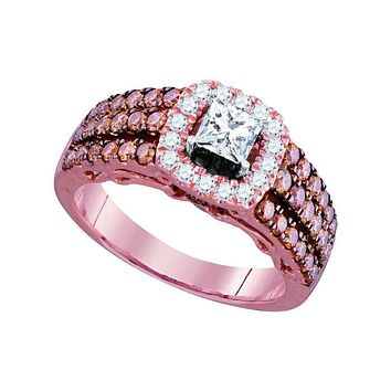 14kt Rose Gold Womens Princess Diamond Solitaire Bridal Wedding Engagement Ring 1-1-2 Cttw