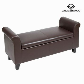 Brown faux leather storage bench by Craften Wood