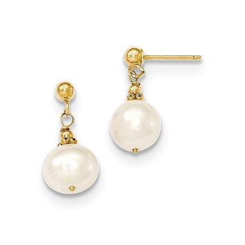 14K Yellow Gold (7-8mm) Semi-round F.W. Cultured Pearl Drop Post Earrings