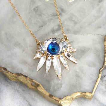 Eye Necklace, Evil Eye Necklace, Evil Eye Jewelry, Blue Eye Necklace,Protection necklace, Gift For Her, Talisman Gold Eye Necklace