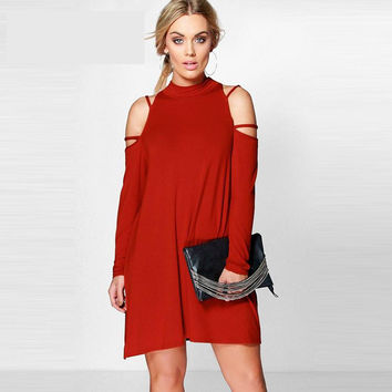Solid A-Line Loose Mini Dress