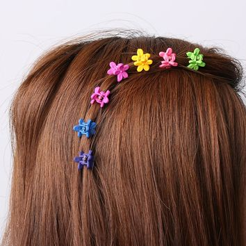 30 pcs Fashion Hair Accessories Hairpins Small Flowers Gripper Korean Children 4 Claws Plastic Hair Clips Clamp