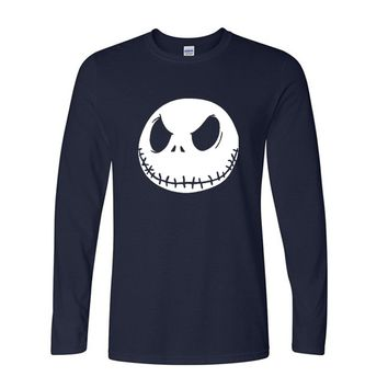 long sleeve T Shirt Nightmare Before Christmas Jack Skellington Male Charcoal T-Shirts men Cotton casual brand autumn new style