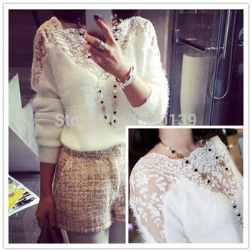 Crochet Knitted Lace Patchwork Embroidery Sweater