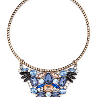 Rhinestone Flower Collar Necklace