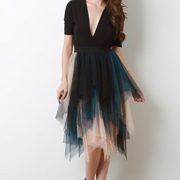 High Waisted Asymmetrical Tutu Tulle Midi Skirt