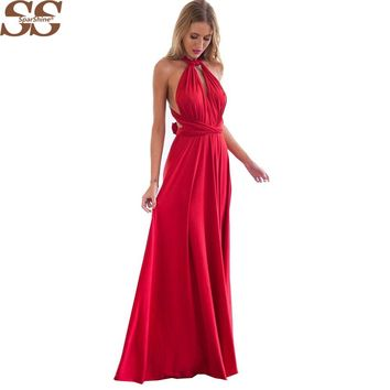 20 Color Summer Sexy Women Boho Maxi Dress Red Bandage Long Dress 2017 Sexy Women Dress Bridesmaids Robe Longue Femme
