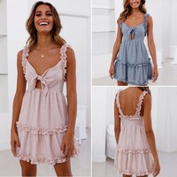 Women Ladies Summer Sweet Bohemian Dress 2 Style Sleeveless Ruched Solid Bow Strapless A-Line Knee-Length Dress Sundress