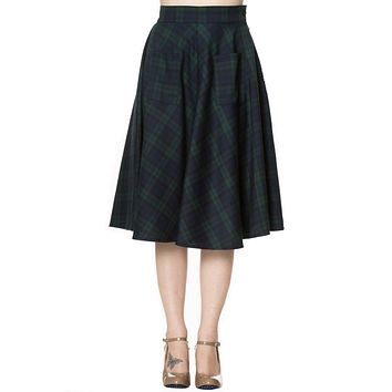 60's Dublin County Irish Green Tartan Midi skirt plus size