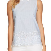 CeCe Yarn Dyed Collared Sleeveless Blouse | Nordstrom