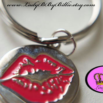 Handmade Lips Clip On Keychain