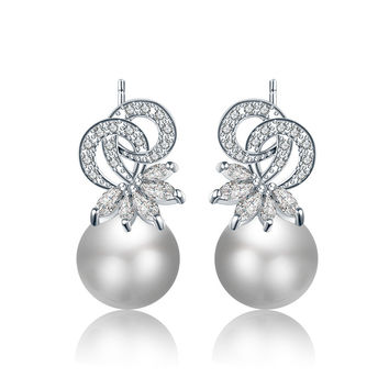 Korean Earring 925 Silver Diamonds Pearls Accessory [4918360644]