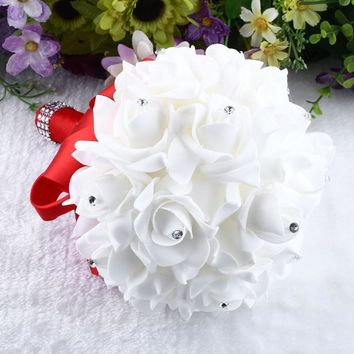Wedding bouquet Bride holding flowers Pure handmade white rose Diamond holding flowers Simple and elegant married bride holding