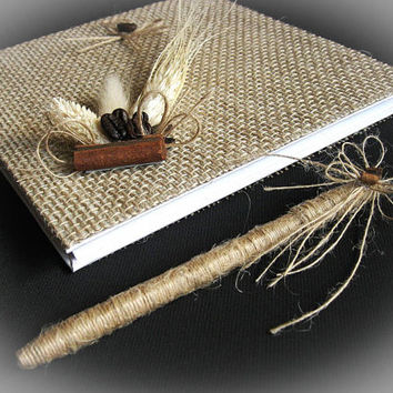 Rustic Wedding Guest Book With Pen, Personalized Guest Book Burlap and Flax, Wedding Guestbook, Wedding Sign In Book, Fall Wedding