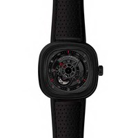 Sevenfriday P3 Industrial Engines Square Black & Red Automatic Watch