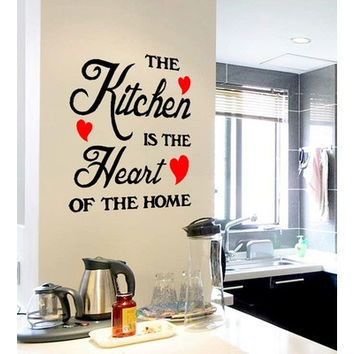 Beautiful Removable New The Kitchen Is The Heart Of The Home Wall Quote Sticker With Heart Hot Kitchen Decor [8045594567]