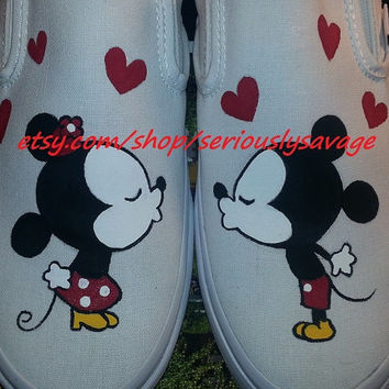 SALE Kissing Mickey Minnie Mouse Custom Painted Toms Vans Perfect Cute Shoes For Disneyland