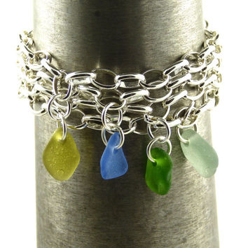SeaweedGreen Sea Glass and Sterling Silver Bracelet 7mm links
